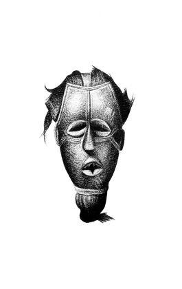 drawing pencil dessin tribal mask ivory coast